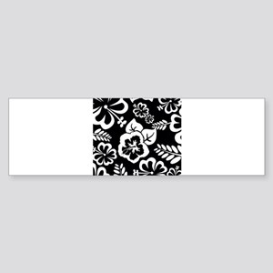Black and white tropical flowers Bumper Sticker