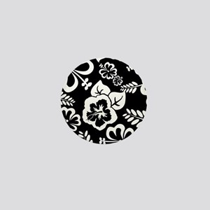 Black and white tropical flowers Mini Button