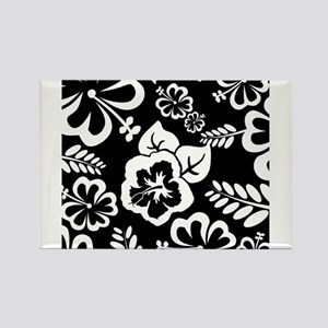 Black and white tropical flowers Magnets