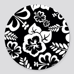Black and white tropical flowers Round Car Magnet