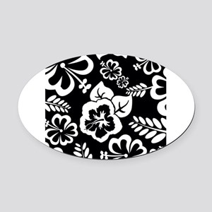 Black and white tropical flowers Oval Car Magnet