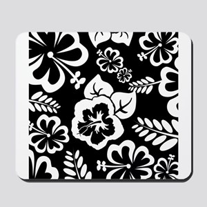 Black and white tropical flowers Mousepad