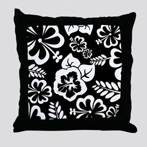 Black and white tropical flowers Throw Pillow