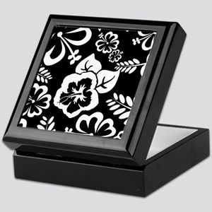 Black and white tropical flowers Keepsake Box