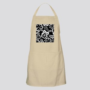 Black and white tropical flowers Apron