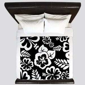 Black and white tropical flowers King Duvet