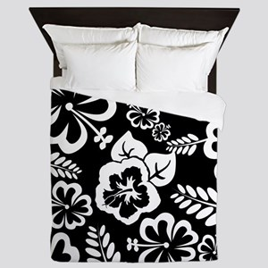 Black and white tropical flowers Queen Duvet