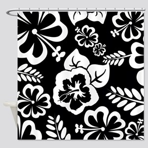 Black and white tropical flowers Shower Curtain