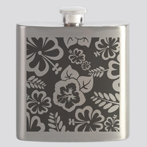 Black and white tropical flowers Flask