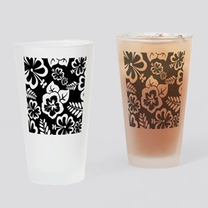 Black and white tropical flowers Drinking Glass