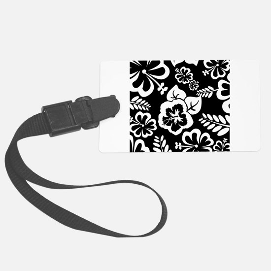 Black and white tropical flowers Luggage Tag