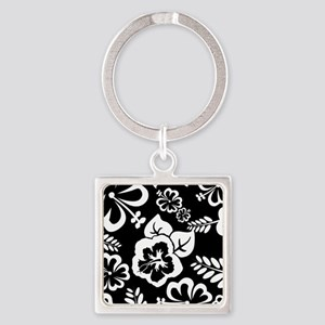 Black and white tropical flowers Keychains