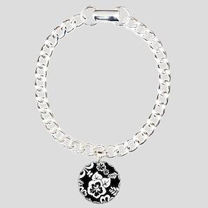 Black and white tropical flowers Charm Bracelet, O
