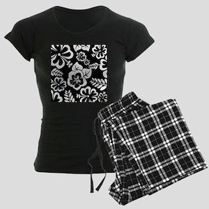 Black and white tropical flowers pajamas