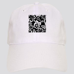 Black and white tropical flowers Cap