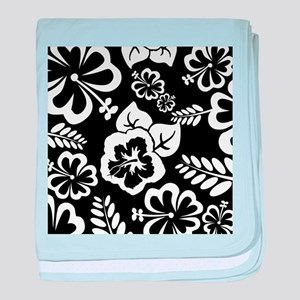 Black and white tropical flowers baby blanket
