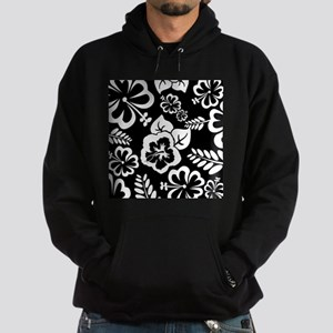 Black and white tropical flowers Hoody