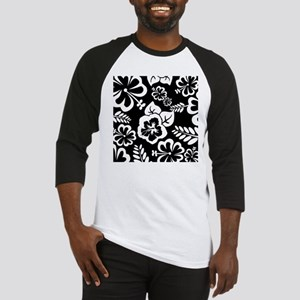 Black and white tropical flowers Baseball Jersey