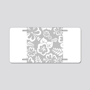 Grey tropical flowers Aluminum License Plate