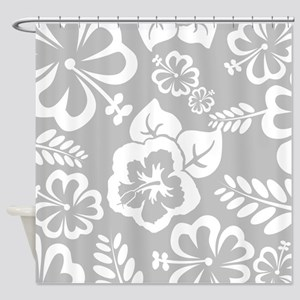 Grey tropical flowers Shower Curtain