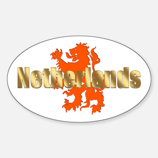 Netherlands Orange Lion Sticker (Oval)