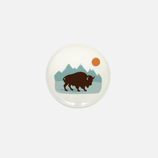 Buffalo Mountains Mini Button