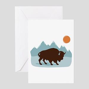 Buffalo Mountains Greeting Cards