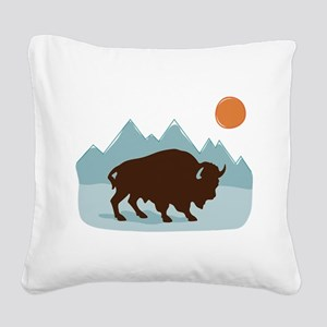 Buffalo Mountains Square Canvas Pillow