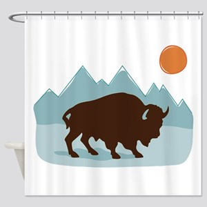 Buffalo Mountains Shower Curtain