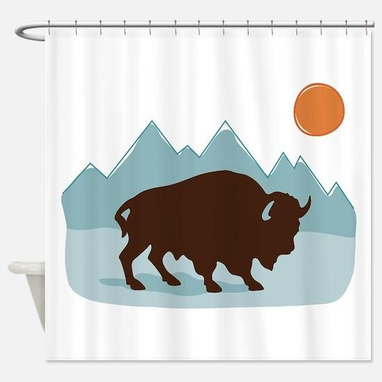 Buffalo Mountains Shower Curtain
