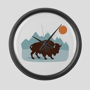 Buffalo Mountains Large Wall Clock