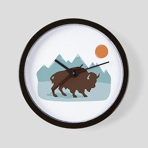 Buffalo Mountains Wall Clock