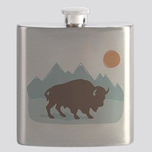 Buffalo Mountains Flask