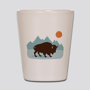 Buffalo Mountains Shot Glass