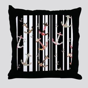 Modern Floral Nautical Anchors Black  Throw Pillow