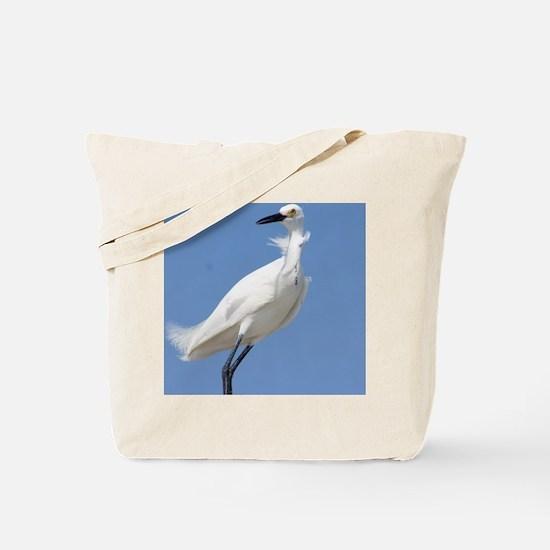 Unique Snowy egret beach Tote Bag