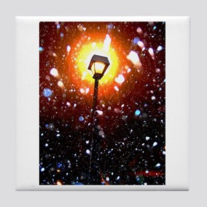 Winter Snow Storm At Night Tile Coaster