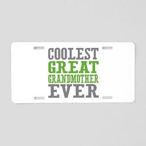 Coolest Great Grandmother Ever Aluminum License Pl