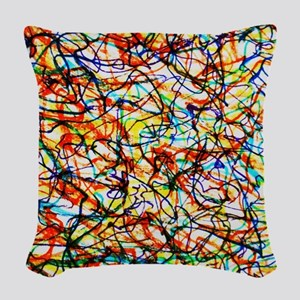 Doodle Squiggle Giggle Color L Woven Throw Pillow