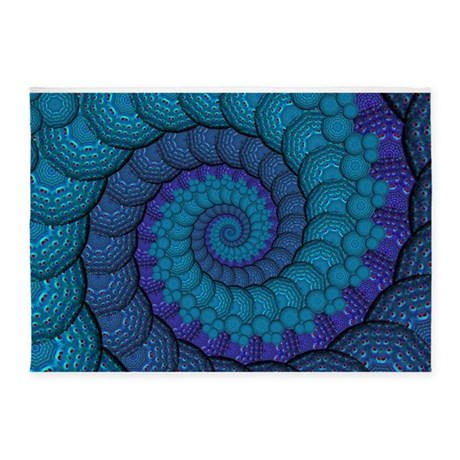 Blue Peacock Fractal Pattern 5 X7 Area Rug By Hippygiftshop