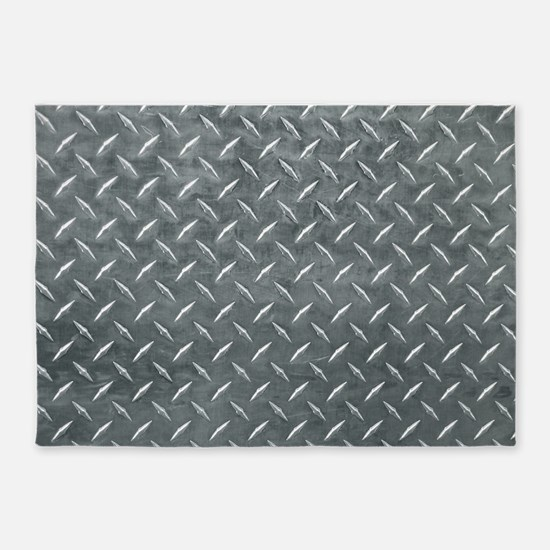 Gray Diamond Plate Pattern 5'x7'Area Rug