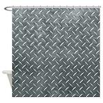 Gray Diamond Plate Pattern Shower Curtain