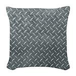 Gray Diamond Plate Pattern Woven Throw Pillow