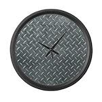 Gray Diamond Plate Pattern Large Wall Clock