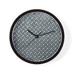 Gray Diamond Plate Pattern Wall Clock