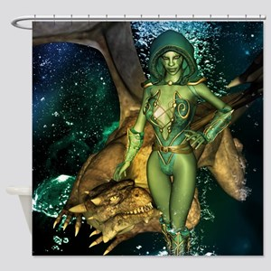 Amazing dragon with elf Shower Curtain