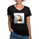 WWI Knitter Women's V-Neck Dark T-Shirt