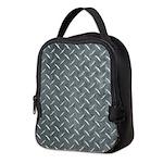 Gray Diamond Plate Pattern Neoprene Lunch Bag
