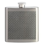Gray Diamond Plate Pattern Flask