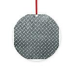 Gray Diamond Plate Pattern Ornament (Round)